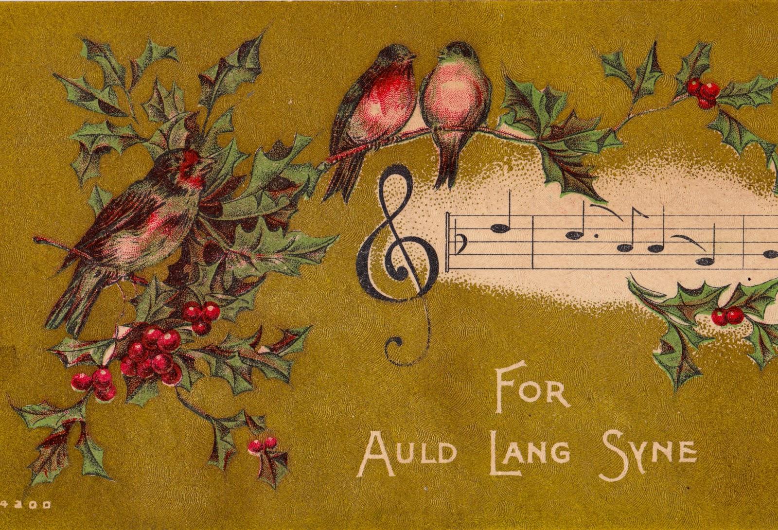 for auld lang syne postcard birds